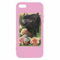 Чохол для iphone 5/5S/SE Black pig and flowers