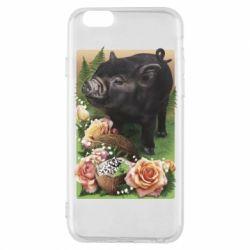 Чехол для iPhone 6/6S Black pig and flowers