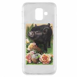 Чехол для Samsung A6 2018 Black pig and flowers