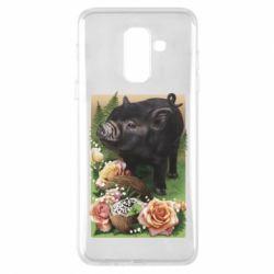 Чехол для Samsung A6+ 2018 Black pig and flowers