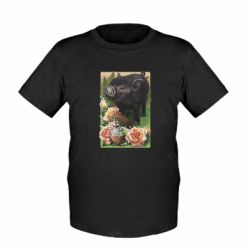 Детская футболка Black pig and flowers