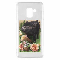 Чехол для Samsung A8 2018 Black pig and flowers