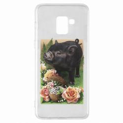 Чехол для Samsung A8+ 2018 Black pig and flowers