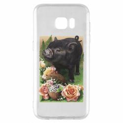 Чехол для Samsung S7 EDGE Black pig and flowers