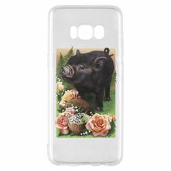 Чехол для Samsung S8 Black pig and flowers