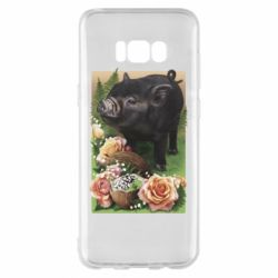 Чехол для Samsung S8+ Black pig and flowers