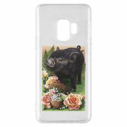 Чехол для Samsung S9 Black pig and flowers