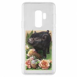 Чохол для Samsung S9+ Black pig and flowers