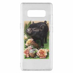 Чехол для Samsung Note 8 Black pig and flowers