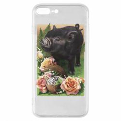 Чехол для iPhone 8 Plus Black pig and flowers