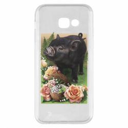 Чехол для Samsung A5 2017 Black pig and flowers