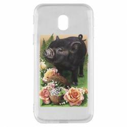Чехол для Samsung J3 2017 Black pig and flowers
