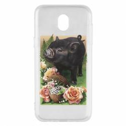 Чехол для Samsung J5 2017 Black pig and flowers