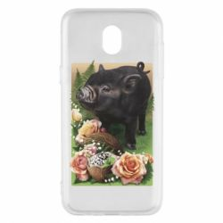 Чохол для Samsung J5 2017 Black pig and flowers