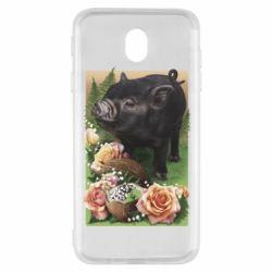 Чехол для Samsung J7 2017 Black pig and flowers