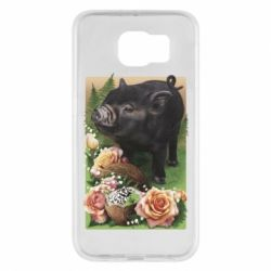 Чехол для Samsung S6 Black pig and flowers