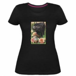 Жіноча стрейчева футболка Black pig and flowers