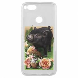 Чехол для Xiaomi Mi A1 Black pig and flowers