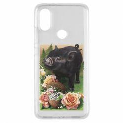 Чехол для Xiaomi Mi A2 Black pig and flowers