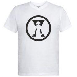 Чоловіча футболка з V-подібним вирізом Black Widow logo