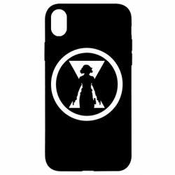 Чохол для iPhone XR Black Widow logo