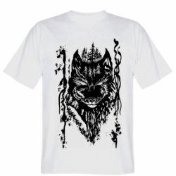 Мужская футболка Black wolf with patterns