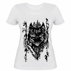 Женская футболка Black wolf with patterns