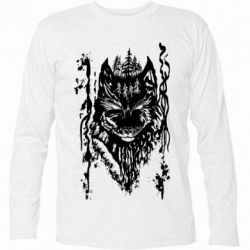 Футболка с длинным рукавом Black wolf with patterns