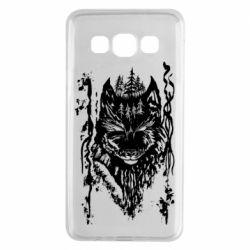 Чехол для Samsung A3 2015 Black wolf with patterns