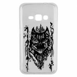 Чехол для Samsung J1 2016 Black wolf with patterns