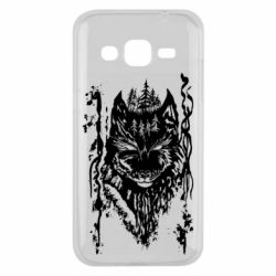 Чехол для Samsung J2 2015 Black wolf with patterns