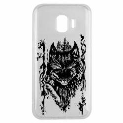 Чехол для Samsung J2 2018 Black wolf with patterns