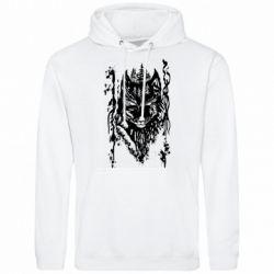 Мужская толстовка Black wolf with patterns