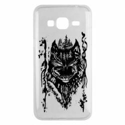 Чехол для Samsung J3 2016 Black wolf with patterns