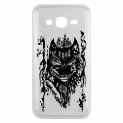 Чехол для Samsung J5 2015 Black wolf with patterns