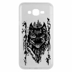 Чехол для Samsung J7 2015 Black wolf with patterns