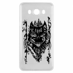 Чехол для Samsung J7 2016 Black wolf with patterns