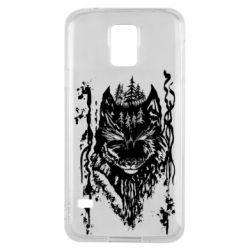 Чехол для Samsung S5 Black wolf with patterns