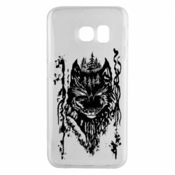 Чехол для Samsung S6 EDGE Black wolf with patterns