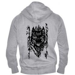 Мужская толстовка на молнии Black wolf with patterns