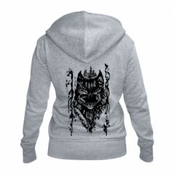 Женская толстовка на молнии Black wolf with patterns