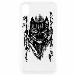 Чехол для iPhone XR Black wolf with patterns