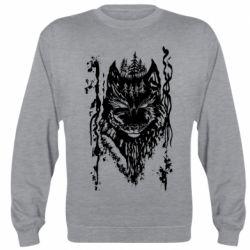 Реглан (свитшот) Black wolf with patterns
