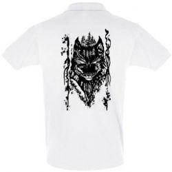 Мужская футболка поло Black wolf with patterns