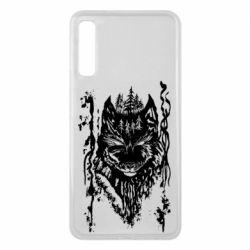Чехол для Samsung A7 2018 Black wolf with patterns