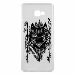 Чехол для Samsung J4 Plus 2018 Black wolf with patterns