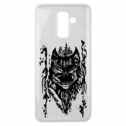 Чехол для Samsung J8 2018 Black wolf with patterns