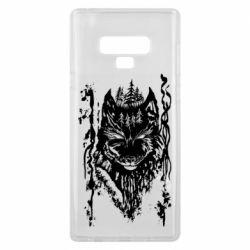 Чехол для Samsung Note 9 Black wolf with patterns