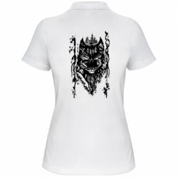 Женская футболка поло Black wolf with patterns