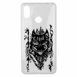 Чехол для Xiaomi Mi Max 3 Black wolf with patterns